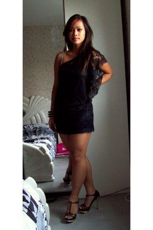 black Bershka dress - black River Island shoes - black roberto cavalli bracelet