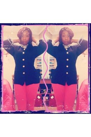 white no brand shirt - hot pink skinny jeans Rue 21 jeans - navy no brand blazer