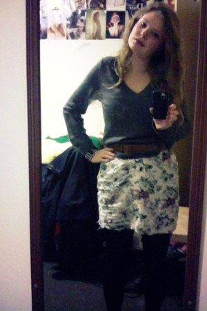 Gap sweater - tights - leather thrifted belt - floral DIY skirt
