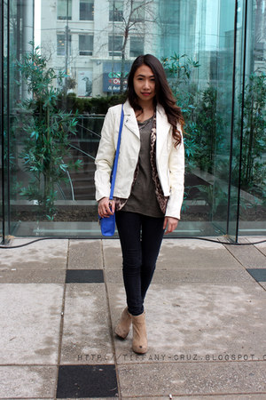 black Forever 21 jeans - white faux leather Forever 21 jacket