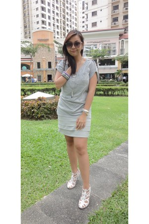 white stella luna heels - silver From China dress - heather gray loose t-shirt