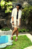 dark khaki shorts - white lace blazer - black top - brown flats