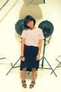 Navy-asymmetric-skirt-red-stripes-t-shirt-brown-sandals