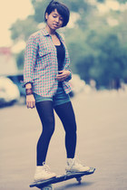 black top - bubble gum flea market shirt - black tights - navy shorts