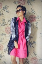 hot pink sateen unbranded dress - dark brown unbranded sunglasses