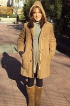 sheepskin Uggs boots - cashmere J Crew dress - sheepskin Sawyer Napa coat