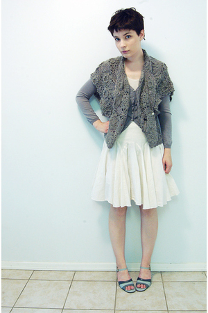 thrifted vest - neil barrett sweater - Rick Owens top - Club Monaco skirt - thri
