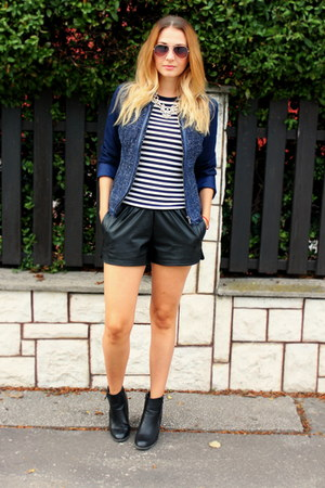 Primark boots - Stradivarius jacket - faux leather OASAP shorts