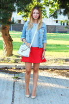 Zara skirt - Mango shoes - denim H&M jacket - vintage sweater - asos bag