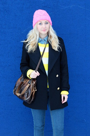 Zara coat - New Yorker sweater - denim Zara shirt - beanie H&M accessories