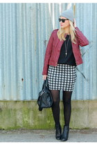 c&a skirt - Primark shoes - beanie H&M hat - leather F&F jacket