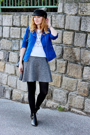 ankle Zara boots - choiescom hat - New Yorker jacket - Zara skirt - Zara t-shirt