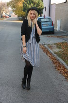 vintage dress - Newlook boots - Terranova blazer