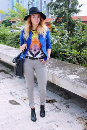 H&M jeans - ebaycouk boots - H&M hat - New Yorker jacket - Boohoocom bag