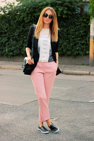 next blazer - Zara pants - OASAP t-shirt