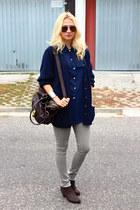 asos bag - Ebay boots - H&M jeans - vintage shirt - vintage cardigan