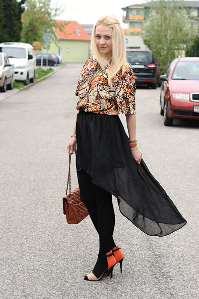 Zara shoes - Gate purse - vintage top - Sheinsidecom skirt