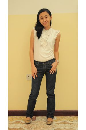 white blouse - red Swatch accessories - random brand pants - beige random brand