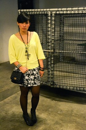 figliarina heels - Aldo bag - neon cropped Forever 21 top - Bubbles bracelet