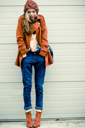 burnt orange BangGood coat - eggshell BangGood top