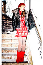 ruby red Marika dress - black Marika jacket - light brown Zara socks