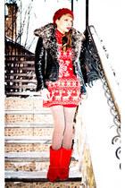 ruby red Marika dress - black Marika jacket - light brown Zara socks