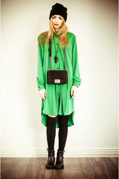 green Front Row Shop dress - black Front Row Shop necklace