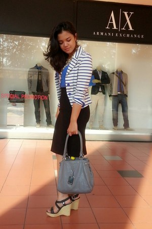 blue striped blazer - silver Armani Exhange bag - black pencil skirt