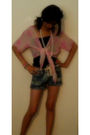 Pink-thrifted-vest-blue-earth-darlings-shorts-black-thrifted-top