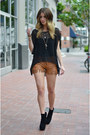 Black-gemma-bootie-dolce-vita-boots-brown-leather-shorts-one-teaspoon-shorts