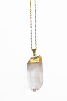 Gold Dipped Crystal Point Necklace