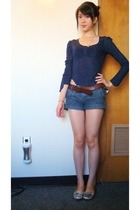 lux uo top - Forever 21 shorts - Gap belt - franco sarto shoes