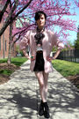 Black-shoes-black-shorts-white-blouse-pink-blazer-gray-accessories