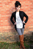 white shirt - brown boots - black cardigan - gray jeans - gold necklace