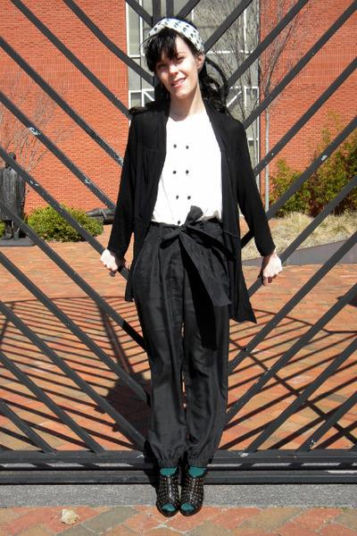 black shoes - green socks - black pants - white blouse - black cardigan - white