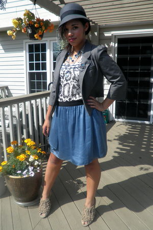 brown bobbi blue boots - blue Anthropologie skirt - brown Cavalli shirt - gold c