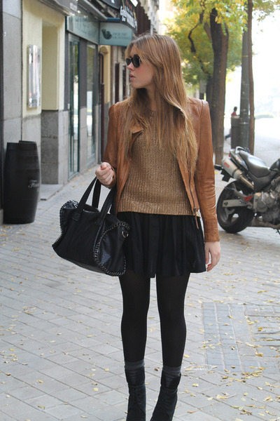 Mango jacket - Zara boots - Zara sweater - BLANCO bag - H&M socks - H&M skirt