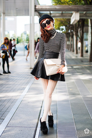 striped top - patterned stockings