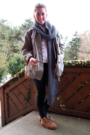 Vans shoes - Fornarina pants - H&amp;M men scarf - acne jacket - Vintage inherited f