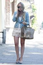 sky blue Isabel Marant jacket - camel Celine purse - camel Isabel Marant skirt