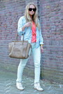 Light-blue-denim-maison-scotch-jacket-camel-luggage-celine-purse