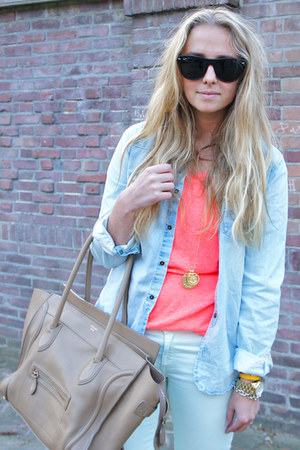 light blue denim maison scotch jacket - camel luggage Celine purse