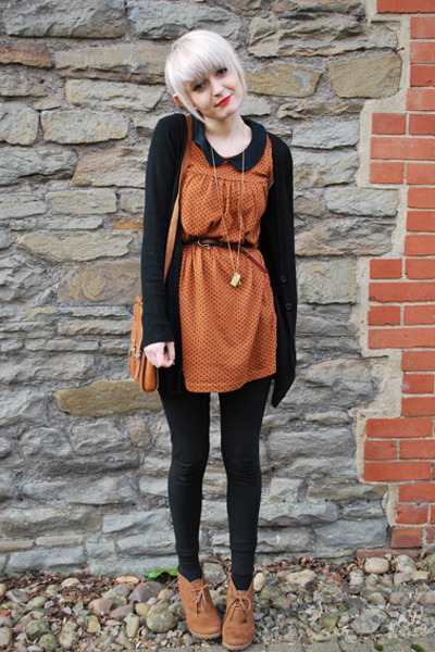 wedge new look boots - Topshop dress - H&amp;M leggings - satchel vintage bag