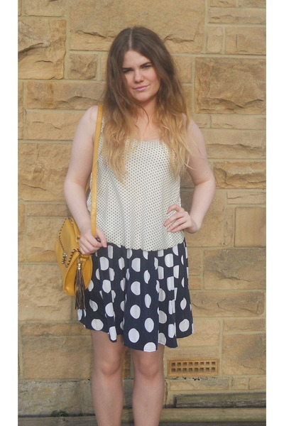 polka dot vintage skirt - Primark bag - Topshop top