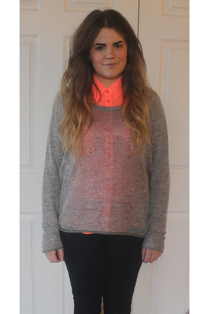 neon new look shirt - jeggings new look jeans - Topshop jumper