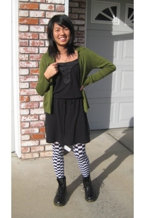 sweater - Gap dress - unknown brand tights - doc martens boots