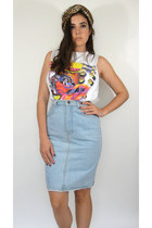 Vintage High-Waisted Denim Pencil Skirt