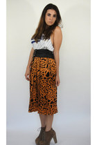 Vintage Faux Leather and Silk High-Waisted Pleated Animal Print Skirt