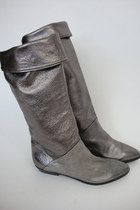 Vintage Tall Metallic Leather Boots Size 7