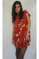 Vintage Double Layer Red Floral Print Dress